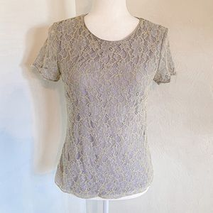 Banana Republic Yellow and Gray Lace Blouse Size S